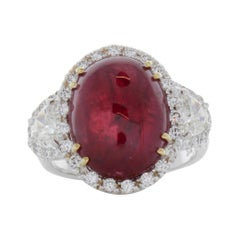 11.48 Carat Cabochon Oval Ruby & Diamond Ring in 18k White Gold