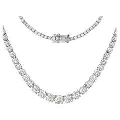 11.48 Carat Genuine White Diamond 14 Karat White Gold Necklace