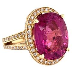 11.49 Carats Pink Tourmaline and 1. Carat Diamond Gold Ring