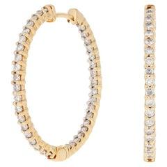 1.14ctw Round Brilliant Diamond Earrings 18k Yellow Gold Pierced Inside-Out Hoop