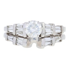 1.14ctw Round Brilliant Diamond Engagement Ring & Wedding Band, 14k White Gold