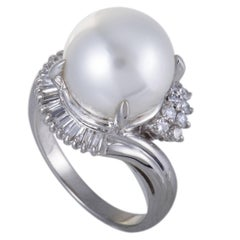 White Pearl and Diamond Platinum Cocktail Ring