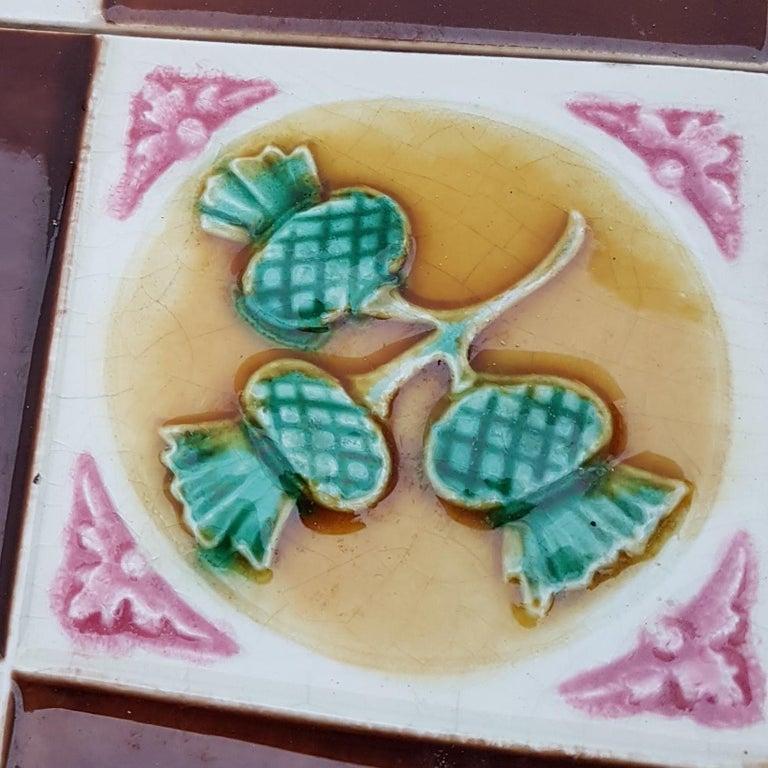 Glazed 115 Art Deco Tiles by S.A. Faienceries de Bouffioulx, 1930s For Sale