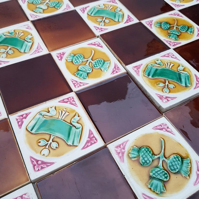 115 Art Deco Tiles by S.A. Faienceries de Bouffioulx, 1930s In Good Condition For Sale In Rijssen, NL