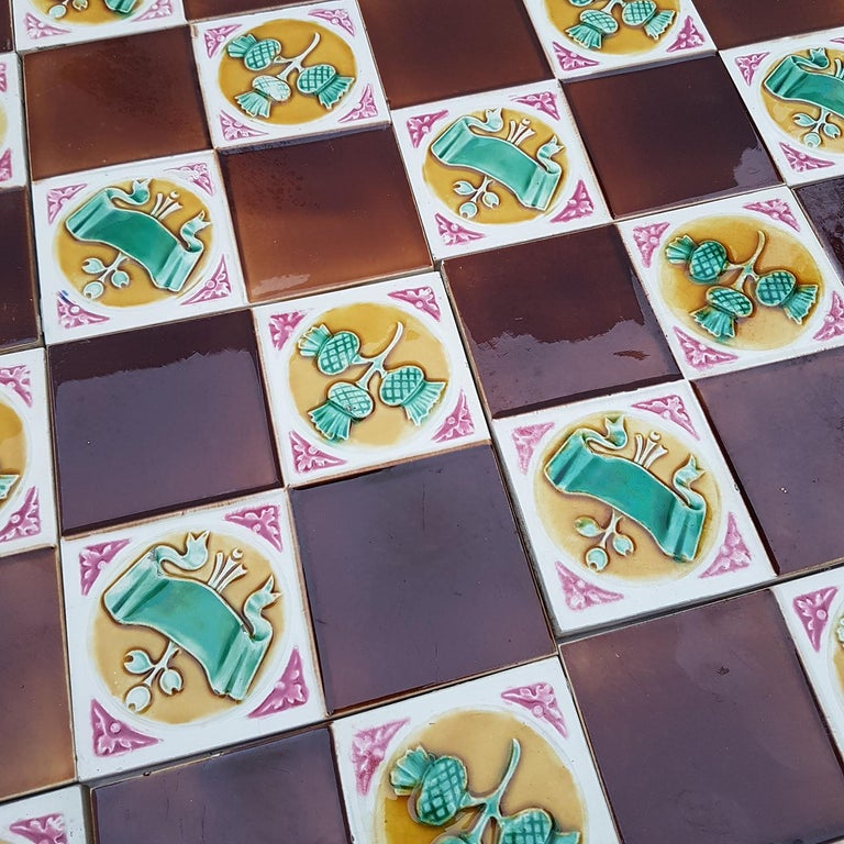 Early 20th Century 115 Art Deco Tiles by S.A. Faienceries de Bouffioulx, 1930s For Sale