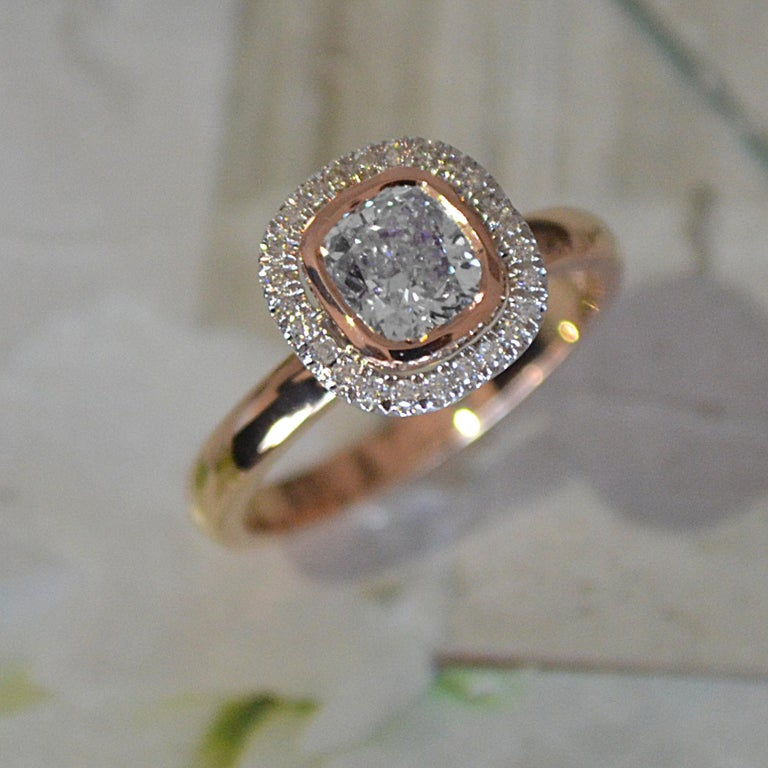 Modern 1.15 Carat Approximate Cushion Diamond Halo Ring, Ben Dannie For Sale