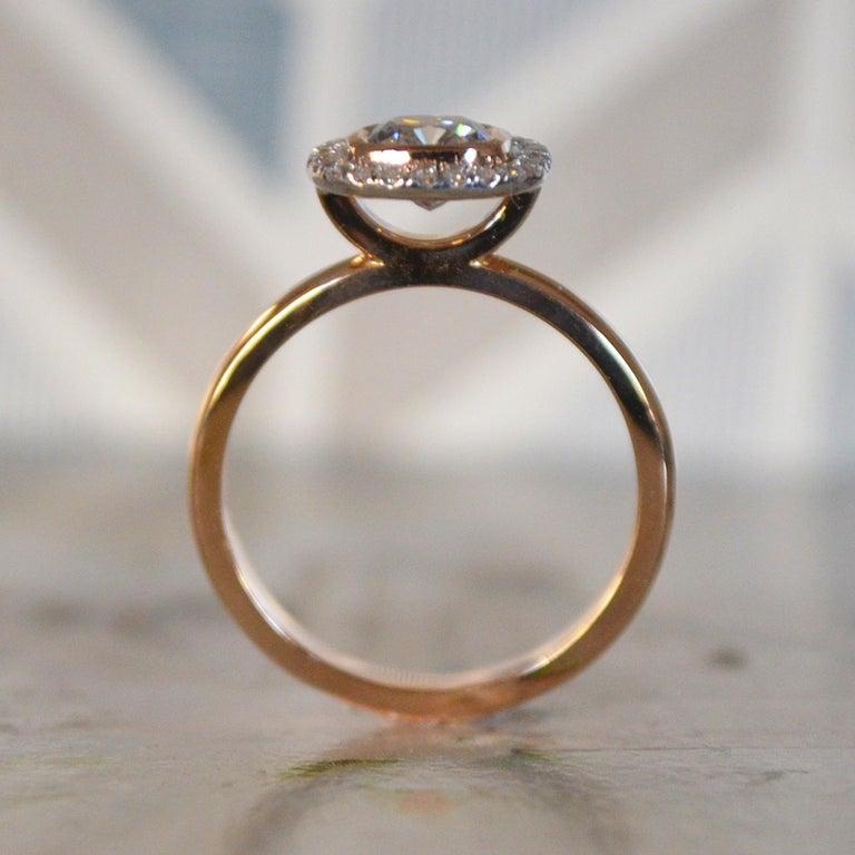Cushion Cut 1.15 Carat Approximate Cushion Diamond Halo Ring, Ben Dannie For Sale