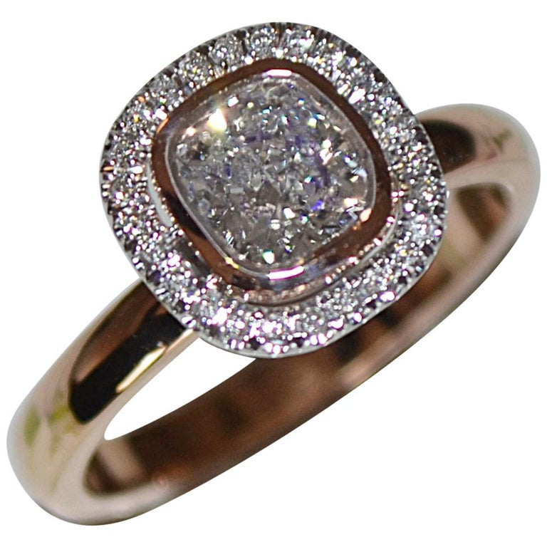 1.15 Carat Approximate Cushion Diamond Halo Ring, Ben Dannie For Sale
