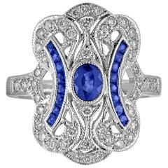 1.15 Carat Blue Sapphire Diamond Gold Ring