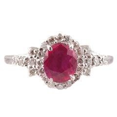 1.15 Carat Burma Ruby Diamond Ring in Platinum