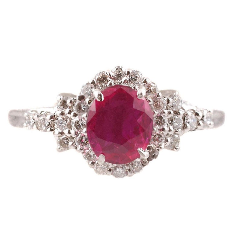 Custom Burma Ruby Ring: 1.15 Carat Burma Ruby Diamond Ring In Platinum For Sale At
