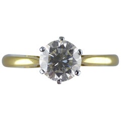 1.15 Carat Certified Round Brilliant Diamond Solitaire Ring, circa 1930