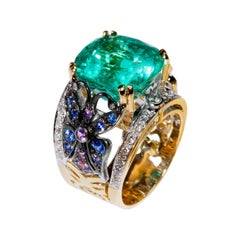 11.5 Carat Colombian Emerald, Sapphires, Diamond Gold Embroidery Ring by Édéenne