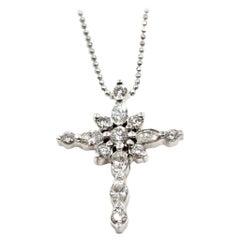 1.15 Carat Diamond 14 Karat White Gold Cross Pendant