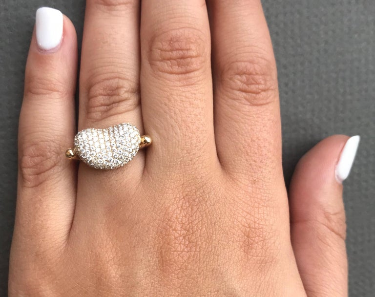 1.15 Carat Diamond Bean Ring In New Condition In GREAT NECK, NY