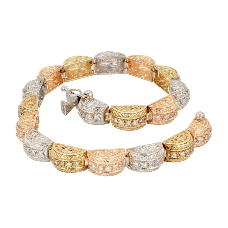 1.15 Carat Diamond Engraved Hinged Domed Tri-Color Gold Link Bracelet For Sale
