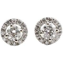 1.15 Carat Diamond Halo 14 Karat White Gold Stud Earrings