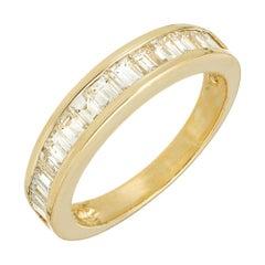 1.15 Carat Diamond Yellow Gold Channel Set Wedding Band Ring