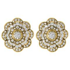 11.5 Carat Diamonds VS/E Flower Cocktail Earring 18 Karat Yellow Gold Estate