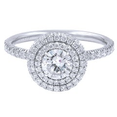 1.15 Carat Double Halo Diamond Engagement Platinum 6.5 Ring