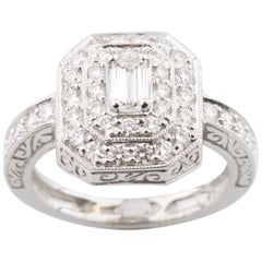 1.15 Carat Emerald Cut Diamond 18 Karat White Gold Engagement Ring with Accents