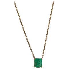 1.15 Carat Emerald Yellow Gold 18 Karat Solitaire Pendant Necklace