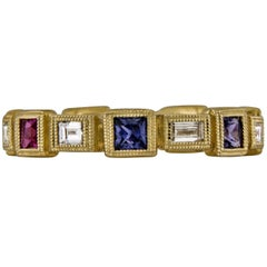 1.15 Carat Eternity Band Yellow Gold Sapphire and Diamond Mill Grained Ring