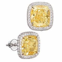 11.5 Carat Fancy Yellow Diamond Stud Earrings with Platinum Screwback