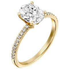 1.15 Carat GIA Oval Cut Diamond Ring, 18 Karat Solitaire Engagement Ring