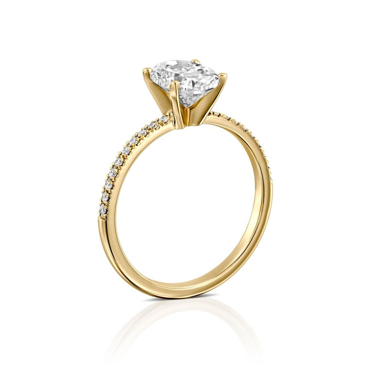 Art Deco 1.15 Carat GIA Oval Cut Diamond Ring, 18 Karat Solitaire Engagement Ring For Sale