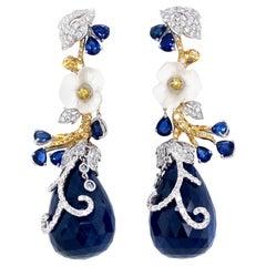 115 Carat GRS Certified Unheated Burmese Sapphire Drops and Diamond Earrings