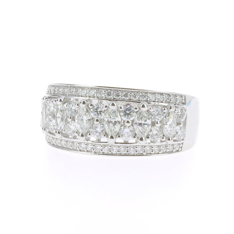 1.15 Carat Marquise or Round Lace Ring 18 Karat Gold Fashion Ring Cocktail Ring In New Condition For Sale In paris, FR
