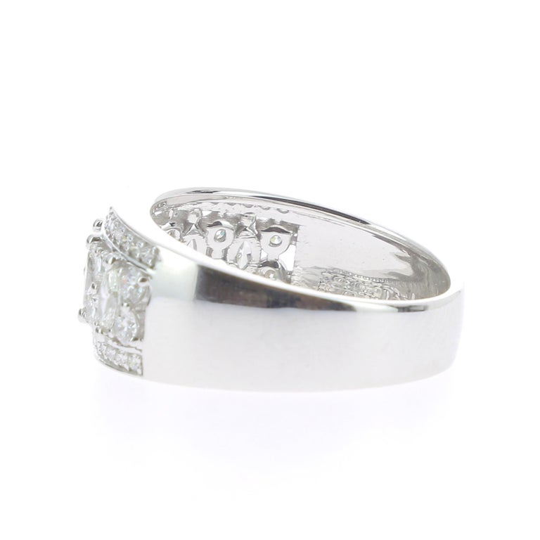 1.15 Carat Marquise or Round Lace Ring 18 Karat Gold Fashion Ring Cocktail Ring For Sale 1