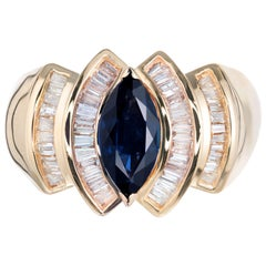 1.15 Carat Marquise Sapphire Baguette Diamond Cocktail Ring