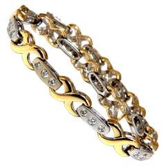 1.15 Carat Modern Diamond X Link Bracelet 14 Karat Two-Toned