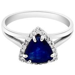 1.15 Carat Natural Ceylon Blue Sapphire 14 Karat White Gold Ring