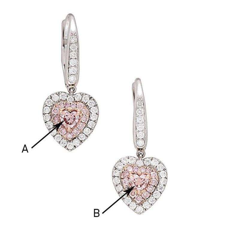 GIA Certified 1.15 Carat Natural Fancy Pink Diamond Heart Earrings For Sale 2