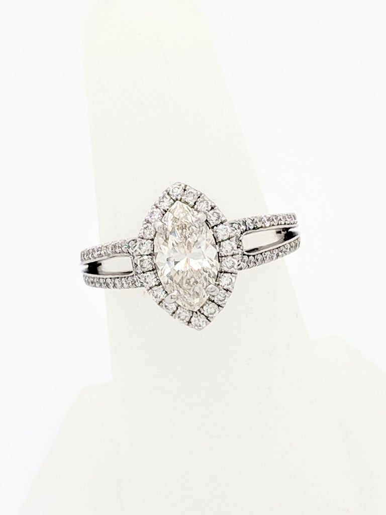 1.15 Carat Natural Marquise Cut Diamond with Split Shank Halo Ring SI1/H-I In Excellent Condition For Sale In Gainesville, FL