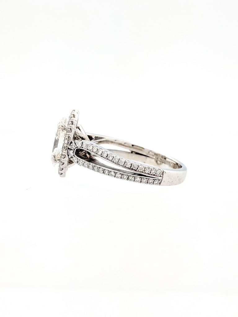 Women's 1.15 Carat Natural Marquise Cut Diamond with Split Shank Halo Ring SI1/H-I For Sale