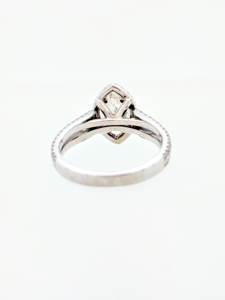 1.15 Carat Natural Marquise Cut Diamond with Split Shank Halo Ring SI1/H-I For Sale 1