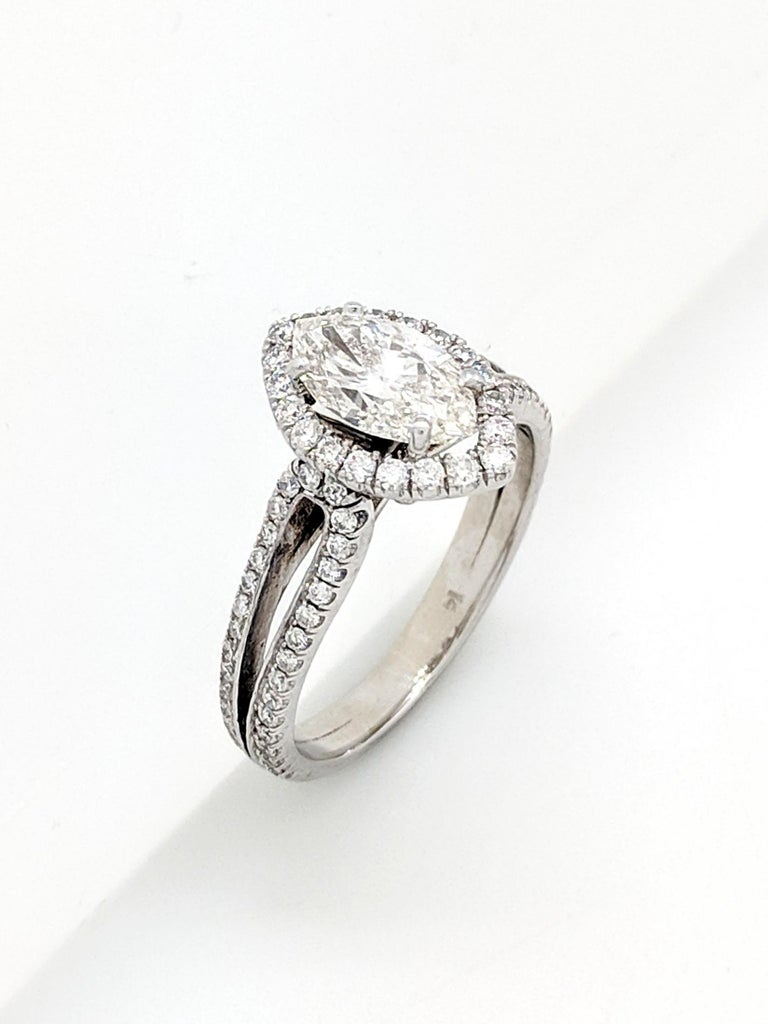 1.15 Carat Natural Marquise Cut Diamond with Split Shank Halo Ring SI1/H-I For Sale 3