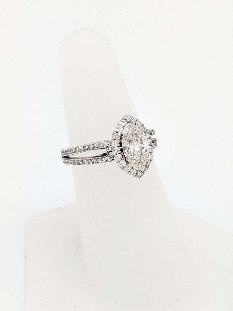 1.15 Carat Natural Marquise Cut Diamond with Split Shank Halo Ring SI1/H-I For Sale 4