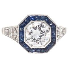 1.15 Carat Round Brilliant Cut Diamond Sapphire Platinum Engagement Ring