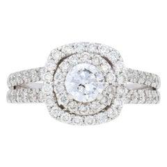 1.15 Carat Round Brilliant Diamond Ring, 14 Karat White Gold Double Halo