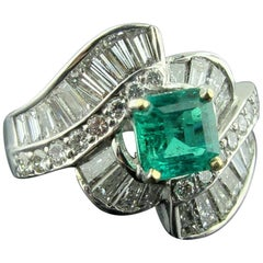 1.15 Carat Square Cut Emerald in 14 Karat White Gold with 1.25 Carat of Diamonds