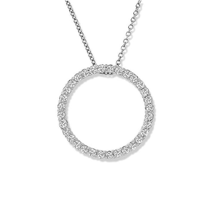 Contemporary 1.15 Carat Total Diamond White Gold Circle Pendant For Sale