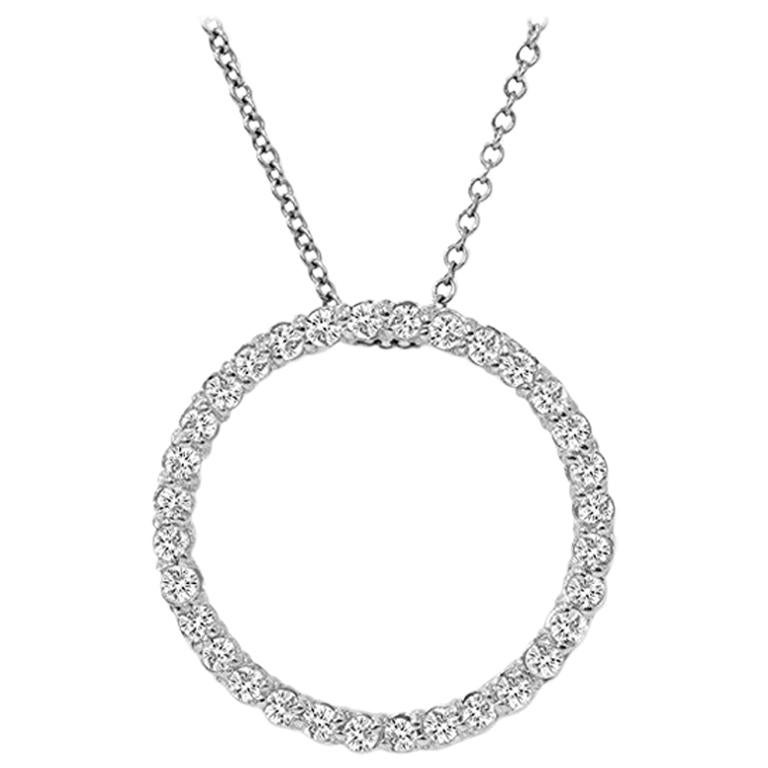 1.15 Carat Total Diamond White Gold Circle Pendant For Sale