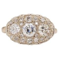1.15 Carat Total Weight Art Deco Diamond 14 Karat Yellow Gold Engagement Ring