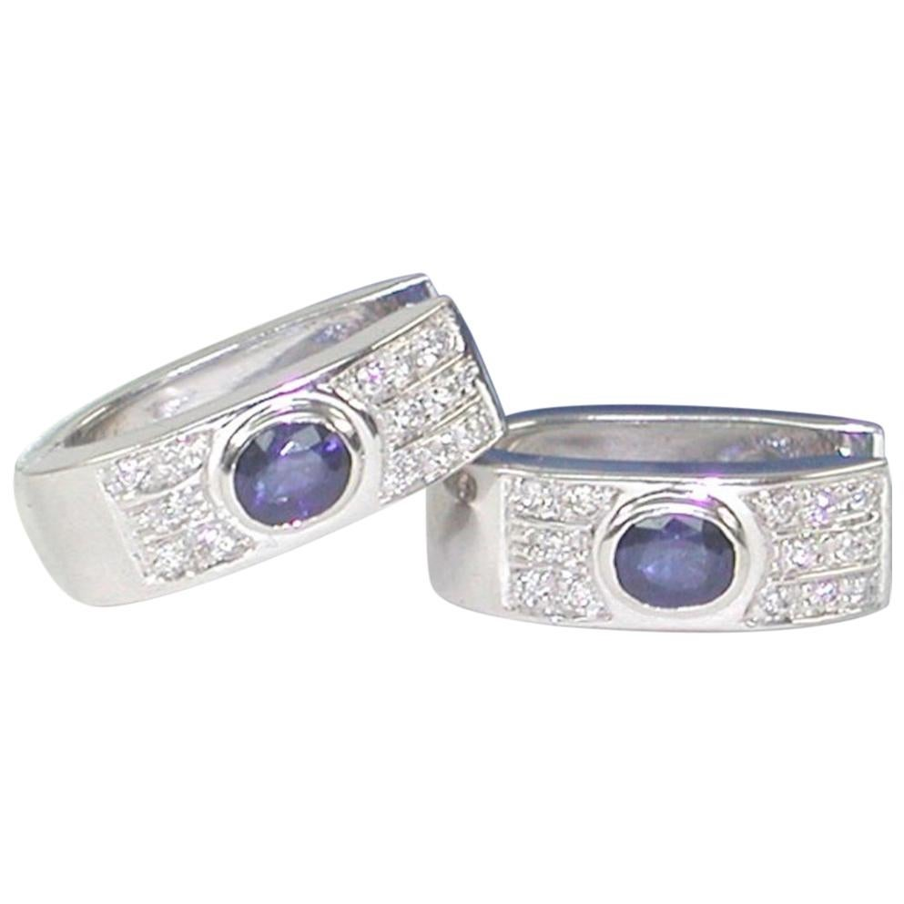 1.15 Carat White Gold Diamond Sapphire Hoop Earrings