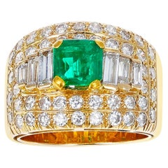 1.15 Ct. Square-Cut Emerald with 2 Ct. Diamond Wide Band Cocktail Ring, 18K